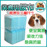 *~寵物FUN城市~*業務用尿布墊【三種尺寸/單包入特價$179元】透明裸包裝 狗用 寵物用尿布