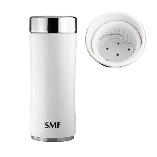 【雙重送】SMF骨瓷保溫杯 鋅時尚濾茶款 340ml (鮮乳白) ❤丹麥MIX密封保鮮瓶❤專用帆布束口袋