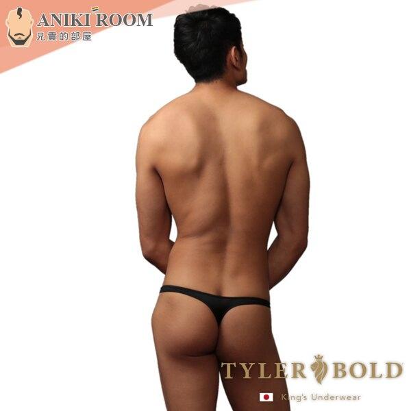 日本 TYLER BOLD 泰勒寶 男性低腰性感無接縫一體成形丁字褲 光澤黑 High Leg Thong Underwear