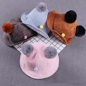 兒童帽 嬰兒帽 冬季韓版子雙球貓咪卡通寶寶漁夫帽燈芯絨嬰兒盆帽保暖帽子【多多鞋包店】pj204