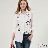 LIYO理優星星印花寬版襯衫E635015