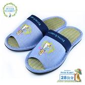 【クロワッサン科羅沙】Peter Rabbit TP細紋藤蝶素邊草蓆室內拖鞋 (藍28CM)