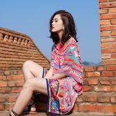 巴厘島沙灘裙海邊度假短裙顯瘦大碼三亞泰國海灘裙雪紡洋裝女夏
