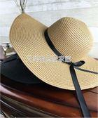 帽子女夏天沙灘帽海邊渡假帽 蝴蝶結飄帶遮陽帽女防曬草帽可折疊「艾尚居家館」
