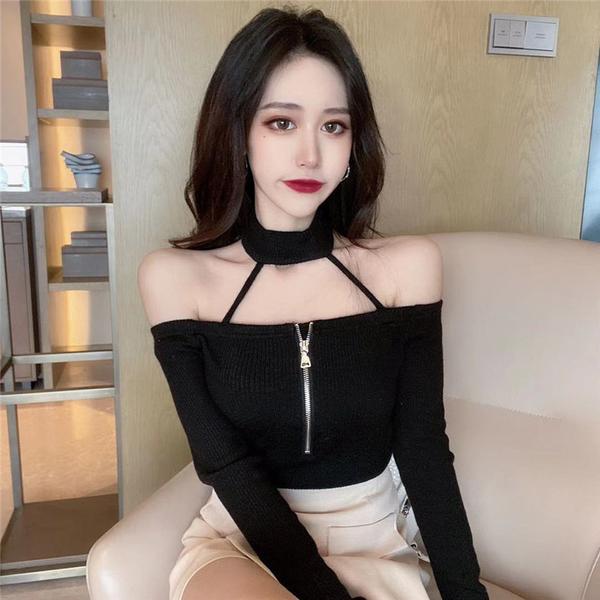出清288 韓版性感鏤空修身顯瘦百搭長袖上衣