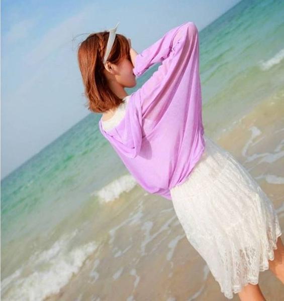 針織外套 韓版 比基尼罩衫 (有釦款) 長袖防曬衣 螢光 百搭防曬小外套【E031】米菈生活館