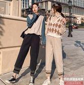 毛呢蘿卜褲女秋冬網紅奶奶褲寬鬆潮加厚褲子高腰直筒褲加絨寬管褲