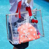 ◄ 生活家精品 ►【N355】撞色拼接透明手提包 透明系 海灘包 沙灘包 透視 果凍包 單肩 夏季