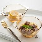 2件套 甜品碗家用耐熱防燙北歐茶色玻璃碗...