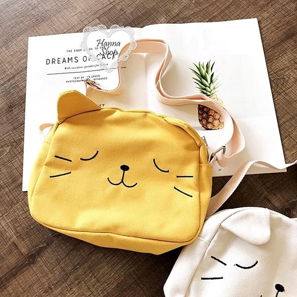 《花花創意会社》超可愛猫咪大頭帆布斜揹包。四色【H6515】