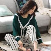 月子服   純棉產后孕婦睡衣春秋薄款產婦休閒豎條喂奶哺乳衣