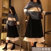 洋裝秋冬季 大碼洋裝女兩件套洋氣套裝胖mm顯瘦胖妹妹裙子晚 【快速出貨】