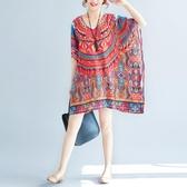 洋裝 連身裙 2019夏季新款女裝大碼印花雪紡洋裝波西米亞短裙海邊度假沙灘裙