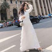 秋裝新款女裝仙氣時尚氣質連衣裙名媛白色禮服溫柔仙女長裙潮洋裝