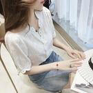 夏季韓版鉤花蕾絲拼接雪紡衫女短袖V領上衣寬鬆超仙洋氣襯衣小衫 黛尼時尚精品