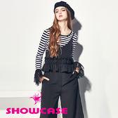 【SHOWCASE】純色優雅V領荷葉寬襬連身褲/吊帶褲(黑)