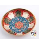 印度彩繪小銅盤/直徑12.5 公分  【 十方佛教文物】