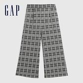Gap女裝 簡約彈力中腰梭織闊腿休閒褲 623103-灰色格紋