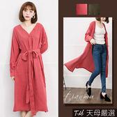【天母嚴選】 V領排釦側開衩附綁帶長版罩衫/洋裝(共二色)