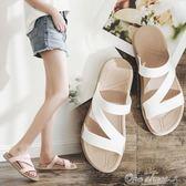 新款夏季一字拖厚底拖鞋女度假沙灘鞋時尚海邊女士涼拖鞋外穿one shoes