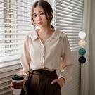 現貨-MIUSTAR 復古奶油方釦滑面厚雪紡襯衫(共4色)【NJ0004】