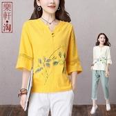 民族風棉麻女裝2020夏裝新款寬鬆七分袖中式盤扣上衣中國風T恤衫