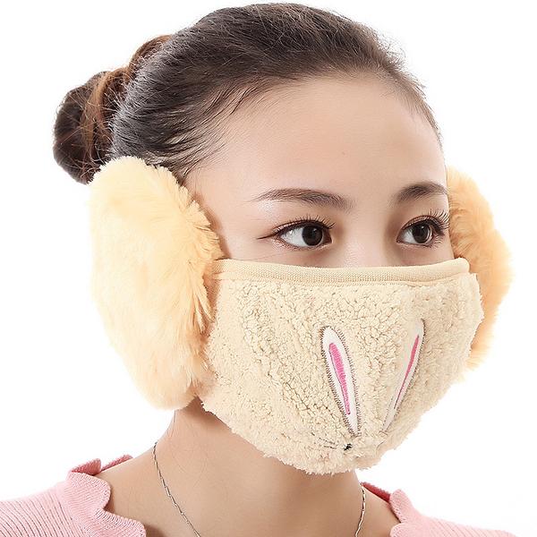 【獨愛3C用品】【買三送一】冬季必備保暖卡通造型兔兔絨毛防塵口罩耳罩二合一(編號10/黃色)