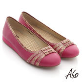 A.S.O 活力勁步 全牛皮金箔壓紋鉚釘平底鞋-桃粉