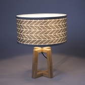 (組)特力屋萊特木質檯燈灰紋燈罩-33cm