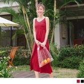 《DA6283-》純色綁帶細肩V領高腰長洋裝 OB嚴選