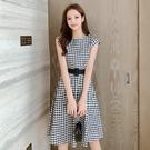 出清388 韓系桔梗裙顯瘦收腰智熏波點格紋短袖洋裝