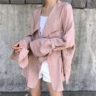 袖口造型 風衣 外套 夾克 罩衫 外搭 長版 寬鬆 垂墜 顯瘦 百搭 遮陽 防曬 上班族 西裝外套 NXS