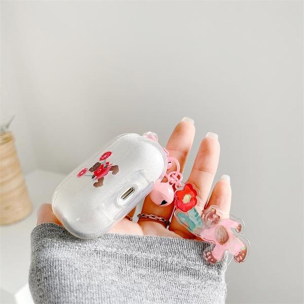 [ Airpods Pro 1/2 ] 閃粉油畫熊熊+同款掛飾 蘋果無線耳機保護套 iPhone耳機保護套