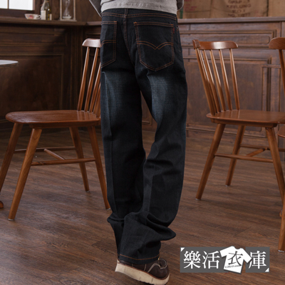 【9089】大尺碼美版質感刷色彈力中直筒牛仔褲(黑色)● 樂活衣庫
