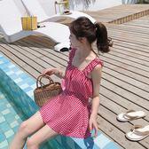 泳衣-泳衣女顯瘦學生保守小清新可愛連身裙式游泳衣遮肚子日系少女泳衣 依夏嚴選