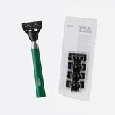 韓國bläk 經典刮鬍刀(迷霧綠)+經典刮鬍刀頭(4入)