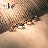 Queen Shop【07030637】水鑽月亮造型耳夾式耳環 兩色售*現+預*
