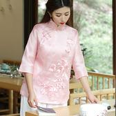 夏季新款大碼女裝中國風復古刺繡七分袖上衣LJ3546『miss洛羽』