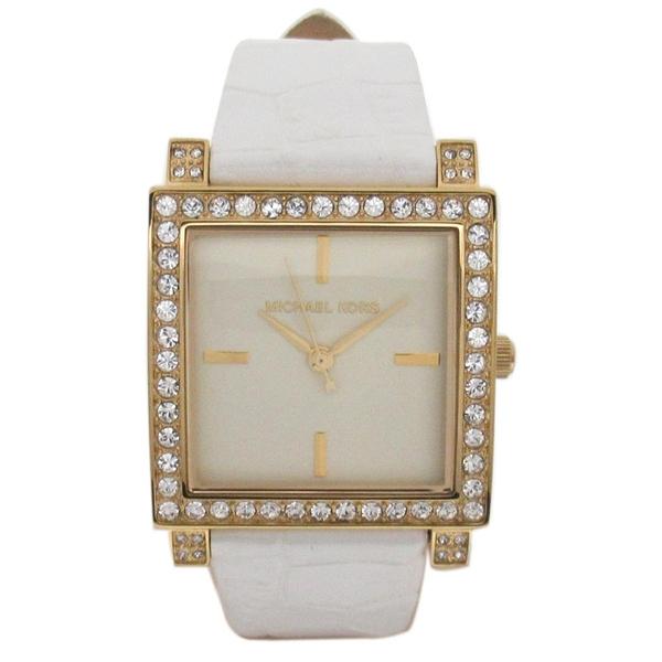 MICHAEL KORS 鑽石裱框白色鏡面手錶【二手名牌 BRAND OFF】