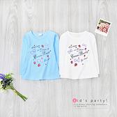 藍 閃亮草莓蝴蝶結上衣 手繪 塗鴉 可愛 字母 甜美 秋冬童裝 女童上衣 女童長袖 女童棉T 女童T恤