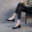 熱賣低跟鞋2021夏秋新款3cm低跟粗跟百搭仙女風軟皮一腳蹬簡約氣質工作女鞋 【618 狂歡】
