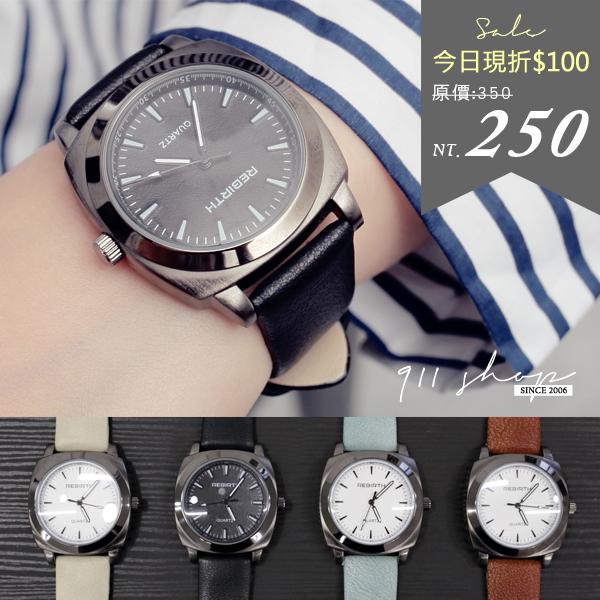 Pearl.REBIRTH品牌。餅乾磨砂方塊精細刻度質感皮革錶帶手錶【ta580】*911 SHOP*