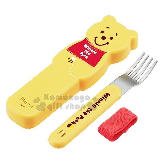 〔小禮堂〕迪士尼 小熊維尼 不鏽鋼叉子附造型盒《黃.手繪風》環保餐具 4973307-41315