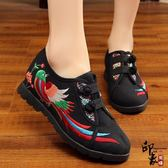 布鞋女民族風復古單鞋內增高繡花鞋漢服女鞋子