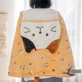 女士單人保暖毛毯貓咪懶人毯子披肩午睡斗篷【邻家小鎮】