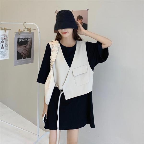 2020新款夏季設計感系帶不規則寬鬆韓版外穿短款西裝馬甲外套女潮 【ifashion·全店免運】