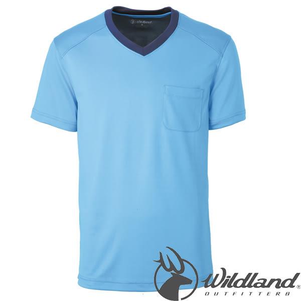 Wildland 荒野 0A31620-77中藍 男V領咖啡紗抗菌抗UV上衣