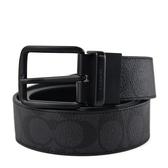 美國正品 COACH 男款 緹花LOGO黑色扣頭雙面用寬版皮帶-灰黑色【現貨】