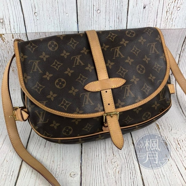 BRAND楓月 LOUIS VUITTON LV M40710 SAUMUR MM 原花 雙面 雙袋 馬鞍包