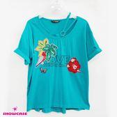 【SHOWCASE】銀環造型圓領亮片印花個性T恤(綠)